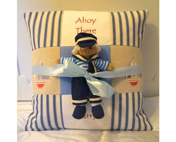 Sailor Doll and 'Ahoy there' personalised cushion