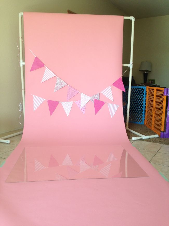 "Cake Smash Set up | 52"" wide Seamless paper, 4'x3' plexiglass from Lowes"