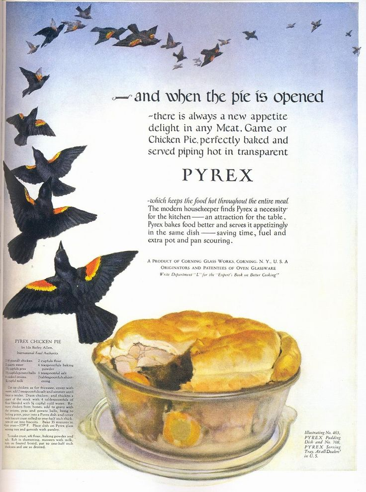 "Pyrex Cookware Ad, 1924. Chicken Pie.  (The blackbirds are kind of creepy/cool...are there ""four and twenty""?)"