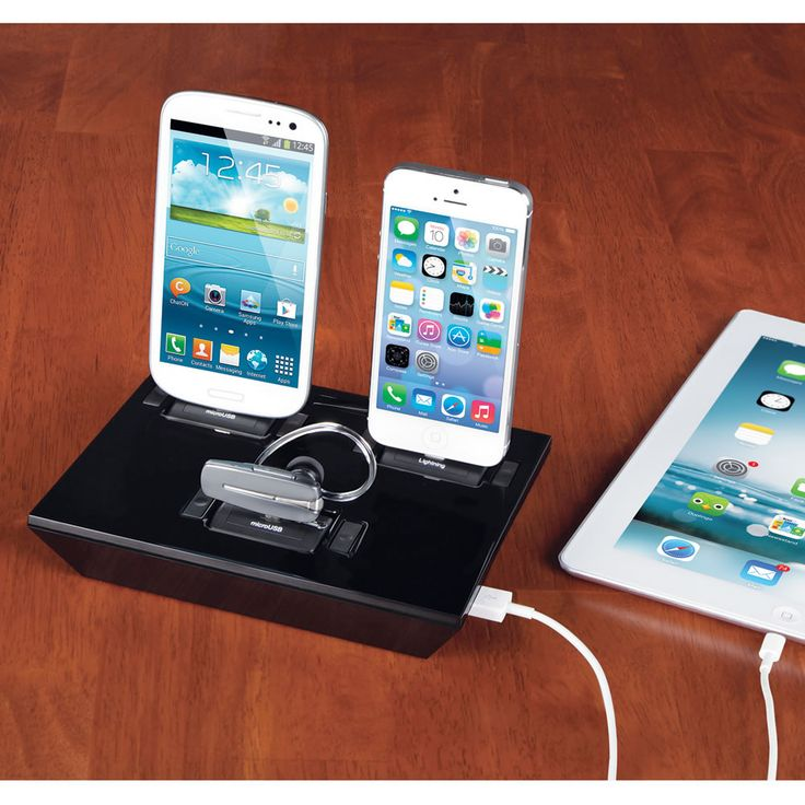 The Any Device Charging Dock - The dock has five adapters including 30-pin and Lightning adapters for charging any generation iPhone, iPad, or iPod, two micro USB adapters (for Android, Samsung, Motorola, and more), and mini USB adapters for GPS devices and older cell phones. - Hammacher Schlemmer