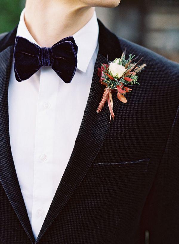 elegant groom look with velvet bow tie #groom #bowtie #weddingchicks http://www.weddingchicks.com/2014/02/14/hard-meets-soft-fall-wedding-inspiration/