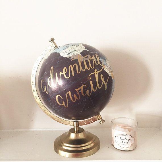 Adventure Awaits- hand lettered globe, guestbook globe, custom globe, home decor, wedding decor, gifts for her, wedding gift, bridal shower