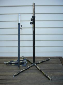 Pair of K & M brand Speaker Stands, model 195. Very strong metal tube construction, not aluminium! Detachable 4 legged base. Adjustable chrome centre pole with locking pin and safety bolt.  Pole suits a standard speaker hole mount of 35 mm,  Internal diameter of pole is 26 mm so it will also perfectly fit a standard 1 inch lighting spigot.  Second hand, $140