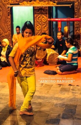 On training of tari topeng malangan, tradional culture from malang, east java, indonesia
