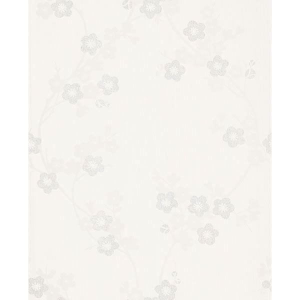 Super Fresco Cherry Blossom Textured Wallpaper White/Mica 19887