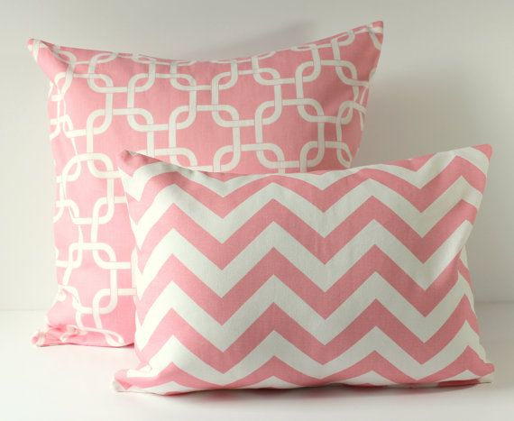Baby Pink Decorative Pillows : Baby Nursery Decor - Decorative Pillow Covers - Baby Pink & White Chevron and Gotcha Links - 2 ...