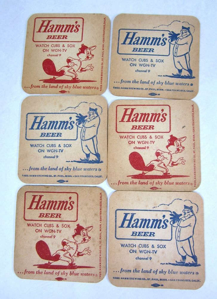 Vintage Lot of 6 Hamm's Beer Bar Coasters Chicago Cubs Sox WGN-TV Dual Sided