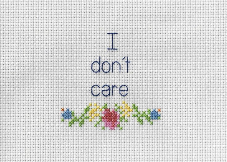 I Don't Care - Funny Cross stitch by 3DRD on Etsy