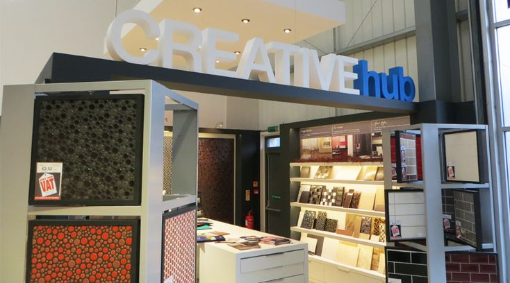'Creative Hub' 3D foamex lettering installed into a tile shop. This eye catching design draws attention to key elements in a shop. By Space3.co.uk