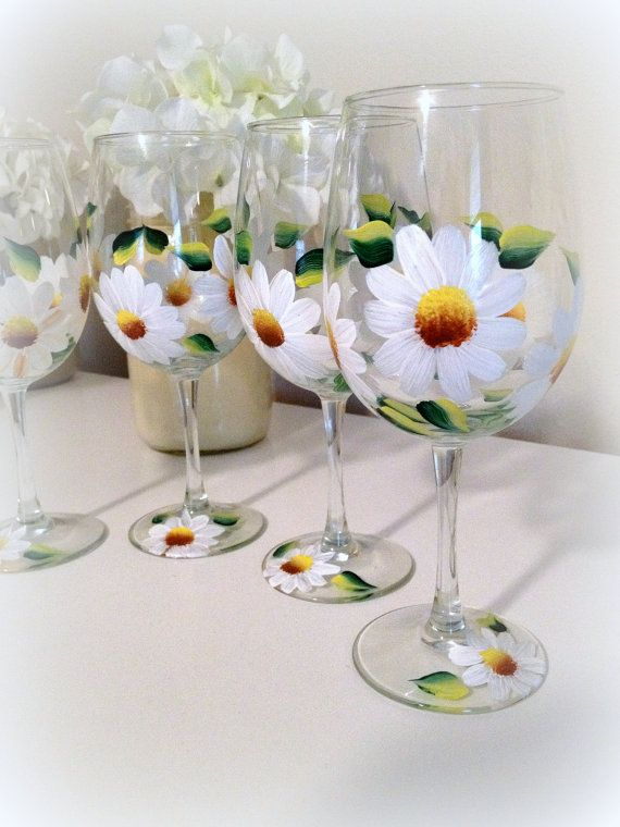 Daisy Wine Glasses Painted Set of 2 by Brusheswithaview on Etsy, $30.00