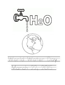 World Water Day coloring page with hand writing text area. This is a one page pdf.