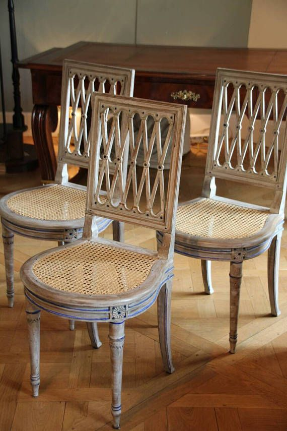French vintage wooden rattan chair Louis 16 style, Handmade french wooden chair patina style Louis 16, Dining wood chair, 3 chairs available