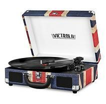 Portable Victrola Suitcase Record Player with Bluetooth and 3 Speed Turntable UK Print