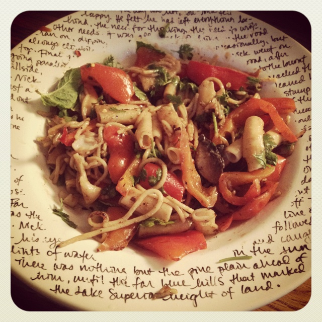 Vegan and gluten free noodles with red peppers, portobello mushrooms ...