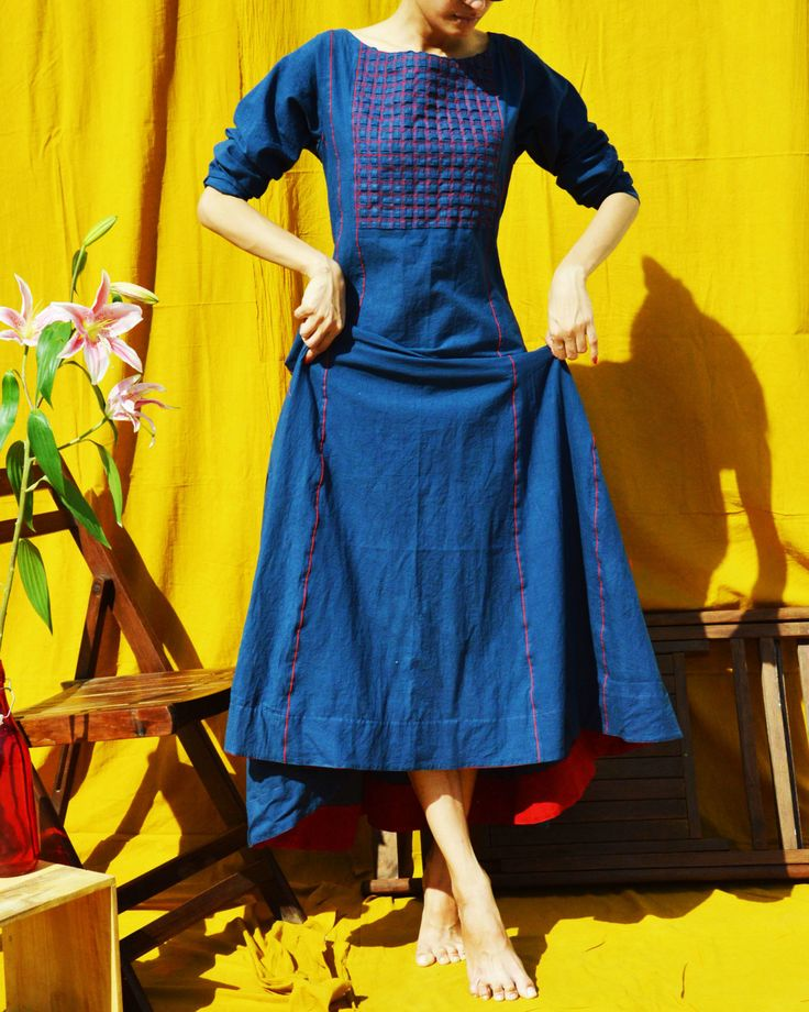 Blue Cotton Solid Anarkali Kurta