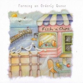 Forming An Orderly Queue Fish and Chips Card - £2.95 - FREE UK Delivery.  Make Your Purchase :  http://www.pippins.co.uk/brands/berni-parker-designs-ladies-men-who-love-life-birthday-cards/forming-an-orderly-queue-fish-and-chips-card.html