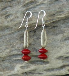 Poinciana and Red Bead Seed Earrings 19c