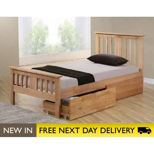 Bed Décor Ltd Brent Solid Wood Oak 4ft Small Double Storage Bed