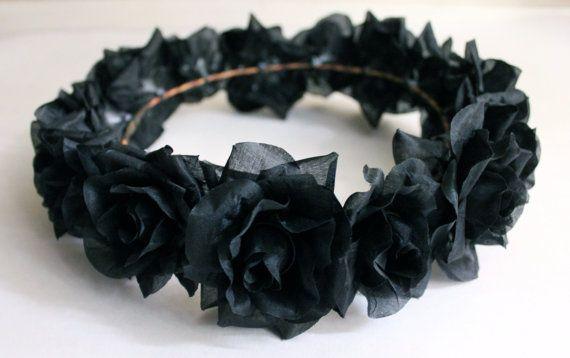 Black Flower Crown, Halloween Flower Crown, Black Rose Crown by GardenoftheAngels