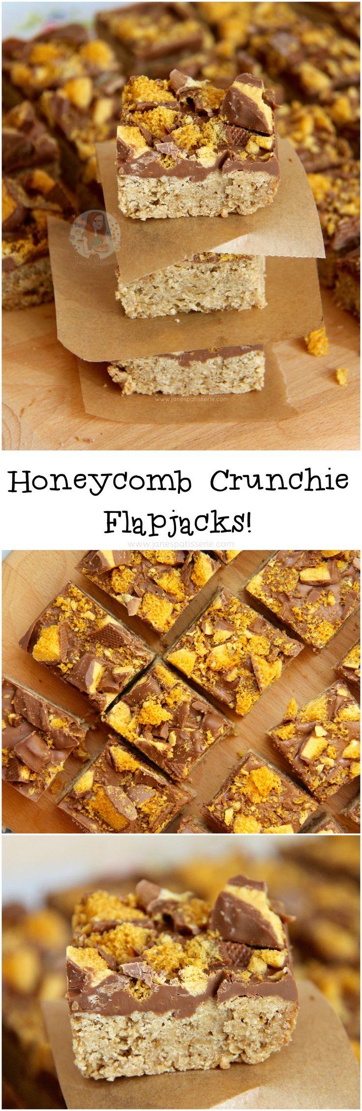 Honeycomb Crunchie Flapjacks! ❤️ A classic traybake, with a sweet chocolatey twist – Honeycomb Flapjacks!