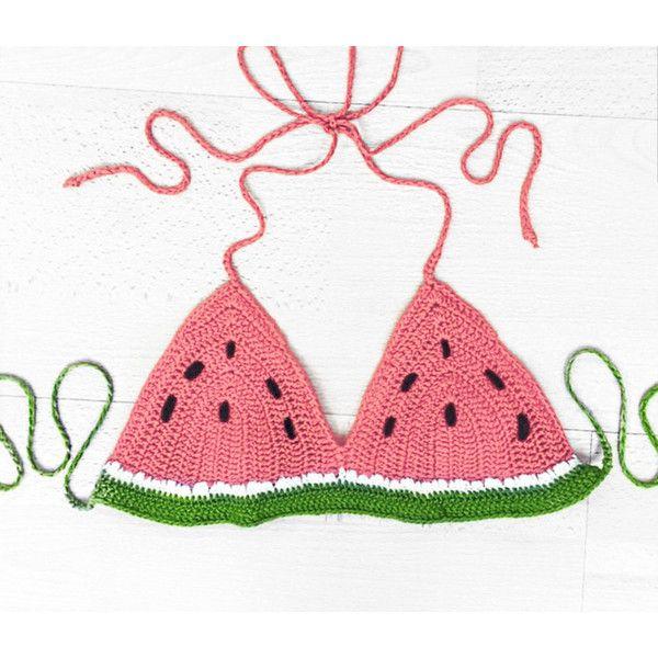 Watermelon Halter Crop Top Watermelon Bikini Bra Fruit Clothing Bikini... ($25) ❤ liked on Polyvore featuring swimwear, bikinis, bikini tops, black, women's clothing, crochet bikini top, black bikini, bikini top, crochet bathing suit e crochet bikini