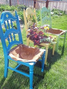 DIY chair planters. Would LOVE to see these, this summer, outside any consignment, resale, thrift that sells furniture. (Follow the clicks for instructions involving chicken wire. I adore chicken wire.)