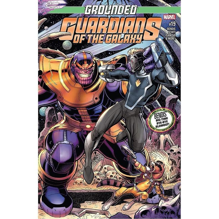 Guardians of the Galaxy (2015-) #19 Written by Brian Michael Bendis Art by Valerio Schiti Cover by Arthur Adams Brian Michael Bendis' last issue! It's all built to this! GROUNDED comes to a conclusion with this double-sized blockbuster as Brian Michael Bendis wraps up his epic run on GUARDIANS! With the team stuck on Earth and scattered to the winds could the only thing to bring them together truly beTHANOS? Featuring art by series artist Valerio Schiti and special guest artists to celebrate…