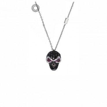 Μοντέρνο rock κολιέ μαύρη νεκροκεφαλή λευκόχρυση Κ18 με μαύρα διαμάντια, 2 ροζ ρουμπίνια, λεπίδα & ενσωματωμένη αλυσίδα. Ένα κόσμημα για metal κυρίες! #νεκροκεφαλη #ρουμπινια #διαμαντια #λευκοχρυσο #κολιε