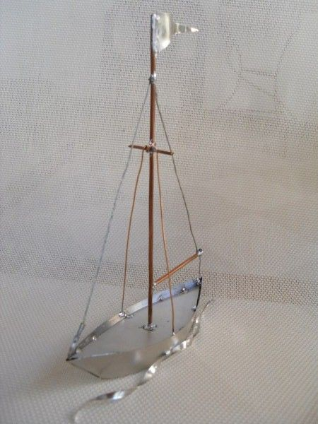 sail boat with tin and wire solder
