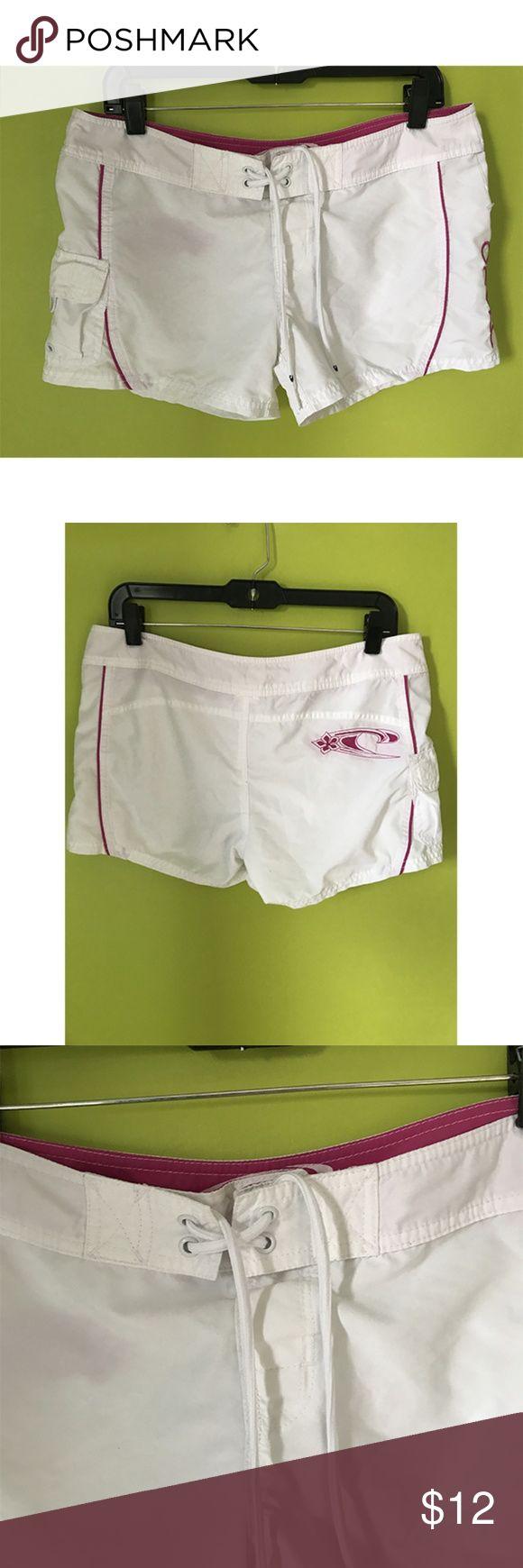 "O'Neill Swim Shorts Drawstring Waist Sz 9 B457  Swim Shorts  Waist - 32"" Rise - 9"" Inseam - 3""  O'Neill Swim Shorts Drawstring Waist  Front Pockets Violet Lined White Size 9  Free shipping on orders over $75 O'Neill Swim"