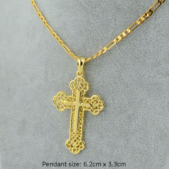 Золотой крест цепи мужчин распятие ожерелье кулон женщин 24 /18 цепи, большой иисус 18 К желтый золото заполненные христианской католической ювелирных изделий