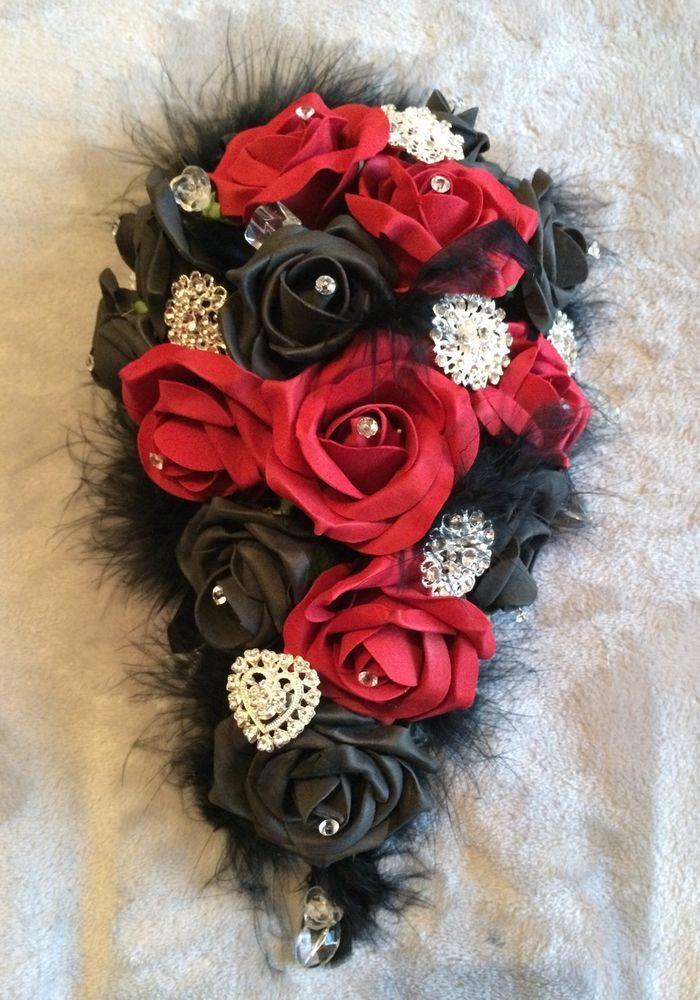 ❤️ �� Bridal Gothic Wedding Bouquet Black Red Diamanté Brooches - also In Purple  | eBay