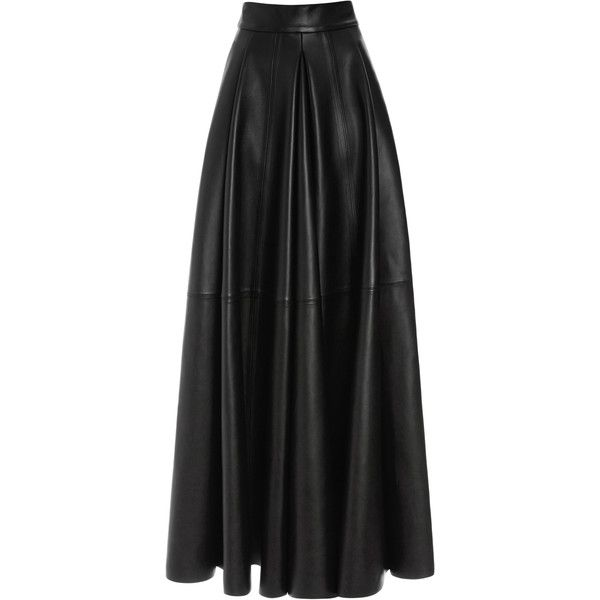 Fausto Puglisi San Domenico Long Leather Skirt (€19.295) ❤ liked on Polyvore featuring skirts, maxi skirts, black, panel skirt, real leather skirt, leather skirt, high waisted maxi skirt and high waisted long skirt
