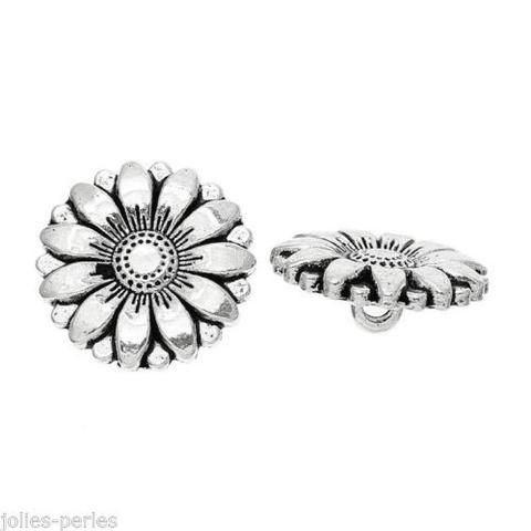 250PCs Silver Tone Sunflower Carved Sewing Metal Buttons Crafts 18mm