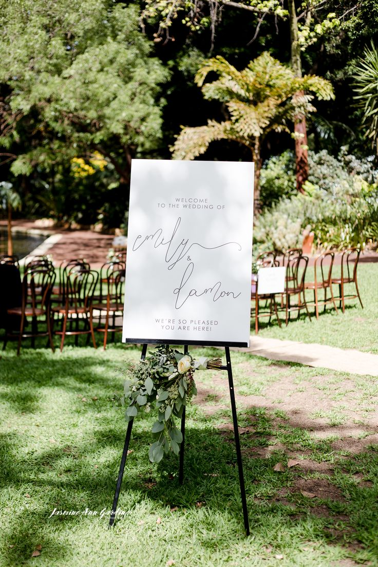 DY.o events (aka Duo)  Wedding Ceremony Welcome Sign at Harold Boas Gardens