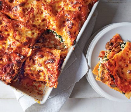 Comfort Food Recipes Packed With Superfoods: Tuscan Lasagna. Spinach and lowfat ricotta make it hearty—and good for you. #SELFmagazine