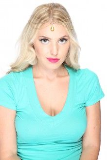 Ouro Rhinestone Accent alta polonês metal Rhinestone Jewelry Cadeias de cabelo