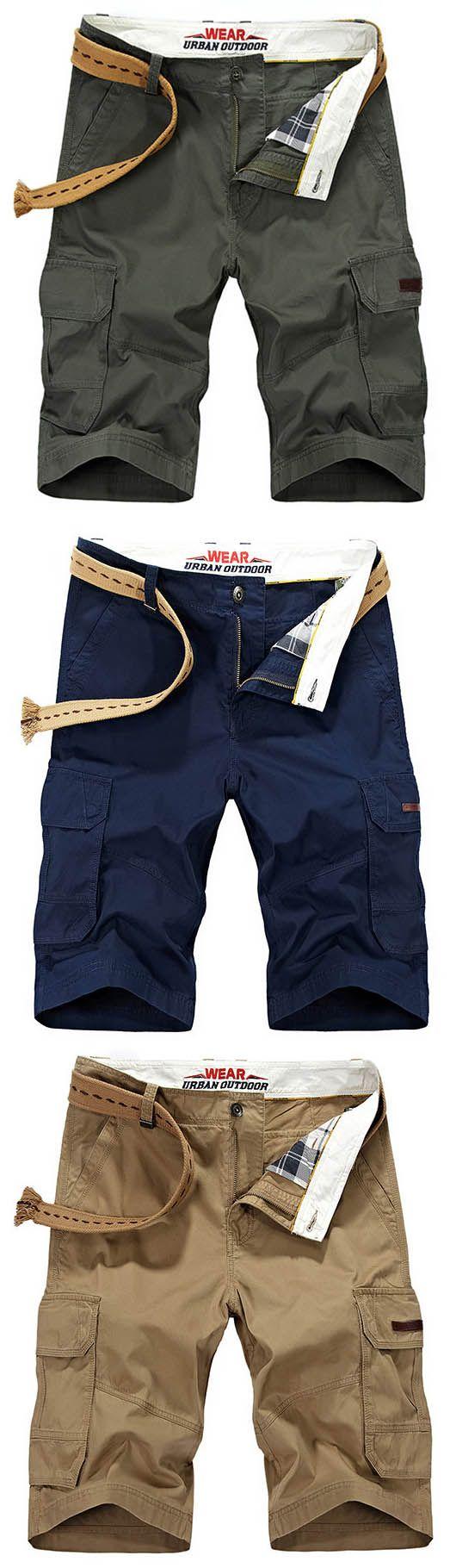 AFSJEEP Mens Summer Solid Color Big Pockets Knee Length Casual Cotton Shorts