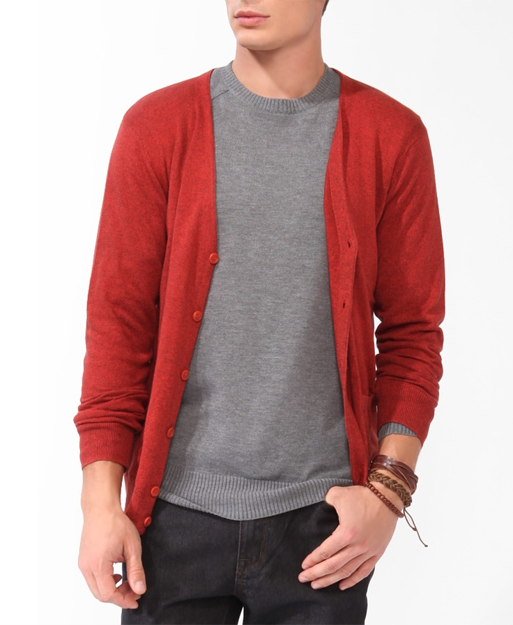 V-Neck Cardigan with knit crew neck. Gray and bright.