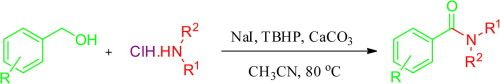 Transition-metal-free oxidative amidation of benzyl alcohols with amines catalyzed by NaI: a new method for the synthesis of benzamides
