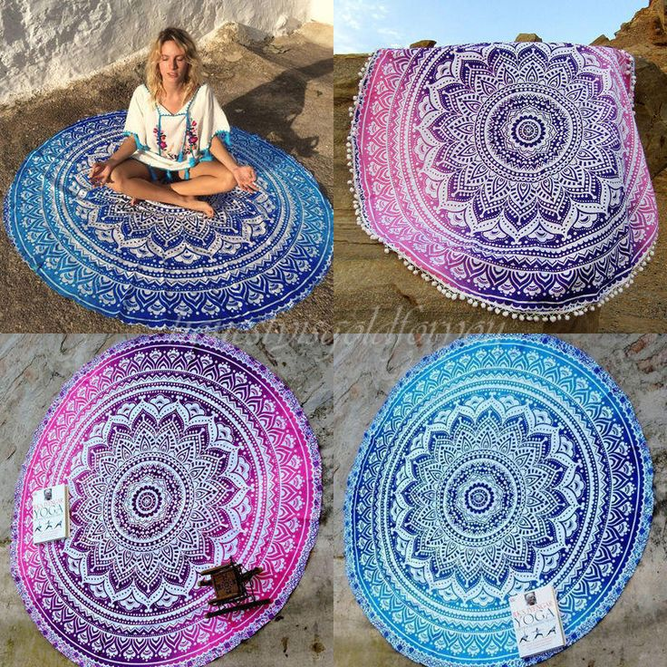Indian Mandala Round Tapestry Hippie Beach Throw Towel Boho Roundie Yoga Mat