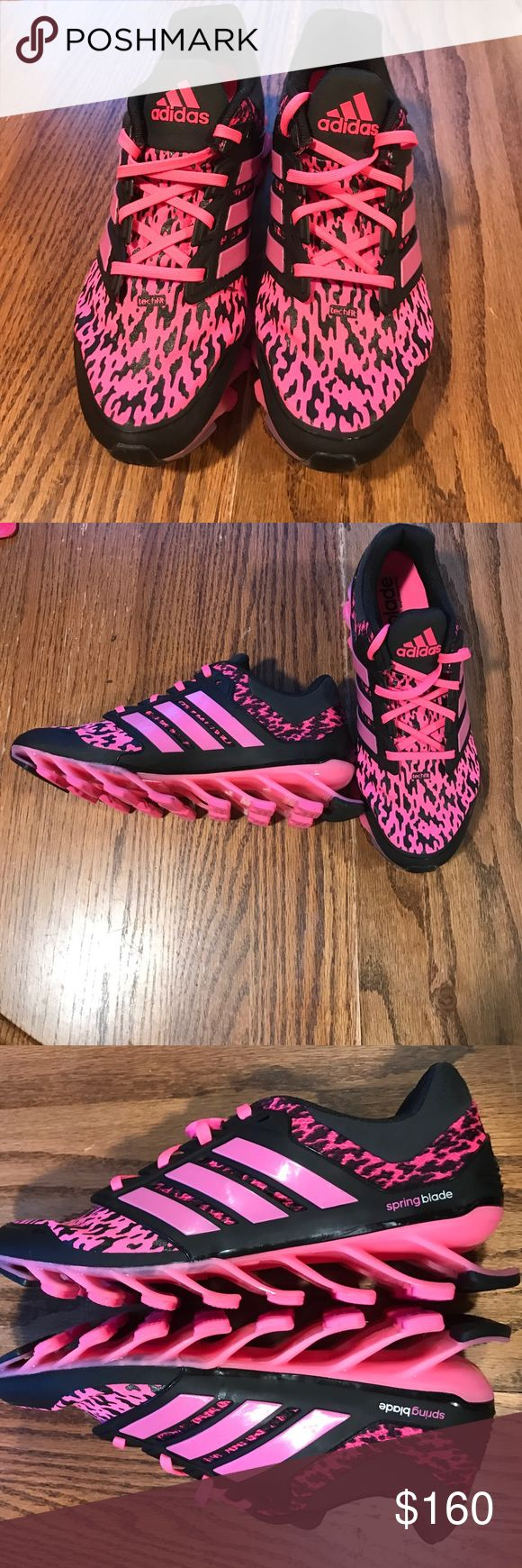 Like new Adidas Pink/Black Leopard Springblades Women's Adidas Springblades. Full length Springblades. Pink/Black. Slightly worn (1-2 times). Size 8.0. Adidas Shoes Athletic Shoes