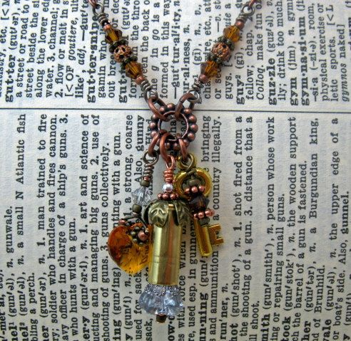 Bullet Necklace Bullet Shell Jewelry-Topaz by ObtainiumDesigns