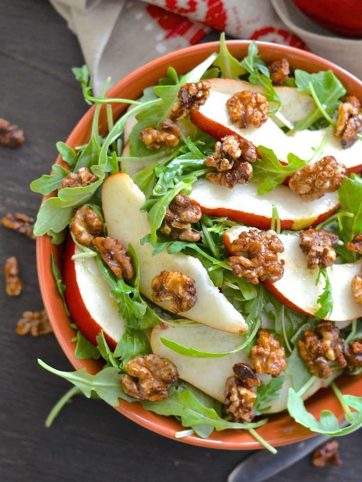 Pear Walnut Salad with Maple Cinnamon Dressing  #justeatrealfood #avirtualvegan