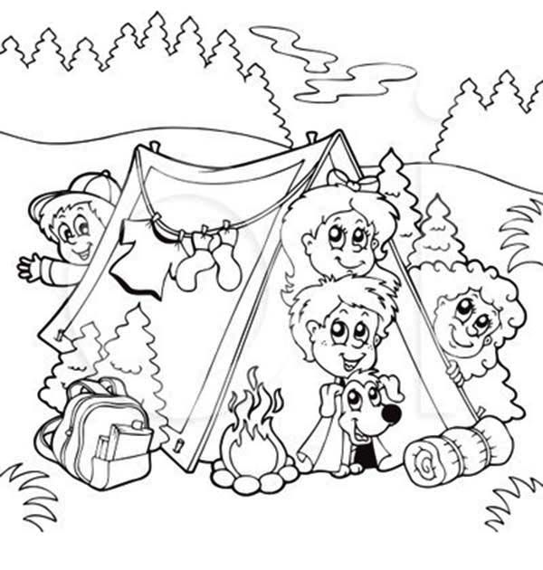 Summer Camp, : Bunch of Kids and a Dog on Summer Camp Coloring