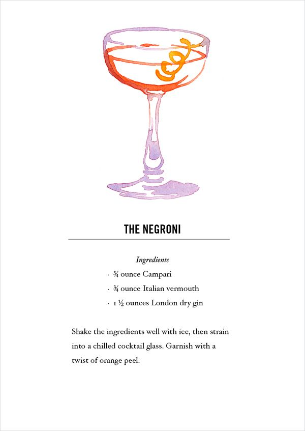 Negroni Cocktail Recipe Card Postcard Back Buy All 12 Here Https Www Etsy Com Listing