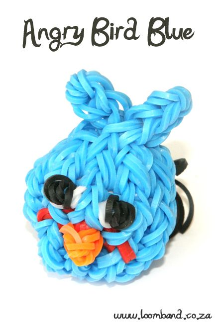 Blue Angry Bird Loom Band Charm tutorial,http://loomband.co.za/blue-angry-bird-loom-band-charm-tutorial/