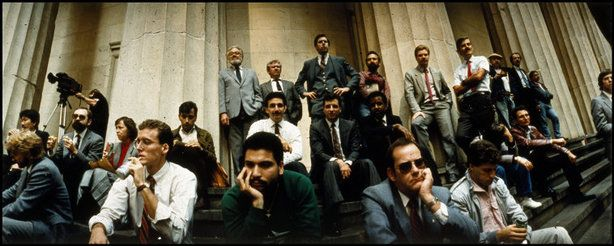 Magnum Photos - NYC, stunned brokers and investors await trading after Black Monday, 1987.