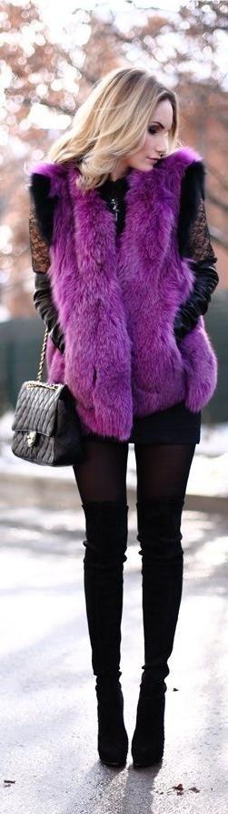 Radiant Orchid | womens fur vest jacket | lovely