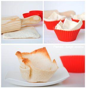 Queremos hacer unas tartaletas pero no tenemos masa quebrada, ni pasta philo en el frigorífico.... Nos ha quedado un poco de pan de mol...